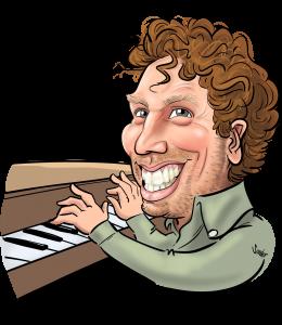 Karikatuur Comedian en Pianist Sem van den Borne